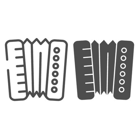 Accordion line and glyph icon. Harmonica vector illustration isolated on white. Musical instrument outline style design, designed for web and app. Eps 10.
