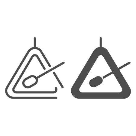Triangle instrument line and glyph icon. Percussion instrument vector illustration isolated on white. Musical instrument outline style design, designed for web and app. Eps 10.