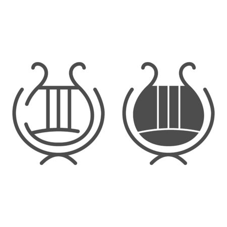 Greek lyre instrument line and glyph icon. Ancient lira instrument vector illustration isolated on white. Musical instrument outline style design, designed for web and app. Eps 10.