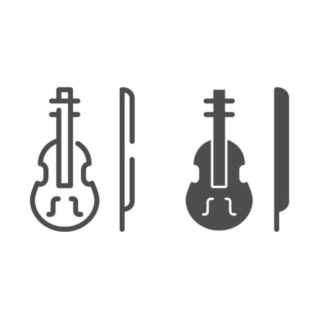 Violin line and glyph icon. Stringed classical instrument vector illustration isolated on white. Musical instrument outline style design, designed for web and app. Eps 10.