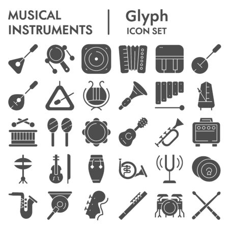 Musical instruments glyph icon set, sound instruments symbols collection, vector sketches, logo illustrations, music equipment signs solid pictograms package isolated on white background, eps 10.