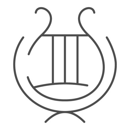 Greek lyre instrument thin line icon. Ancient lira instrument vector illustration isolated on white. Musical instrument outline style design, designed for web and app. Eps 10. Vettoriali
