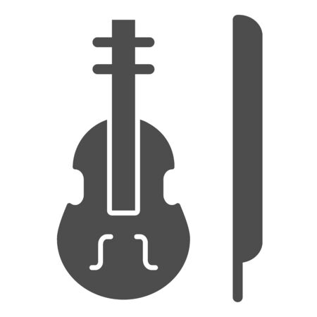 Violin solid icon. Stringed classical instrument vector illustration isolated on white. Musical instrument glyph style design, designed for web and app. Eps 10 Çizim