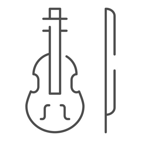 Violin thin line icon. Stringed classical instrument vector illustration isolated on white. Musical instrument outline style design, designed for web and app. Eps 10. Çizim