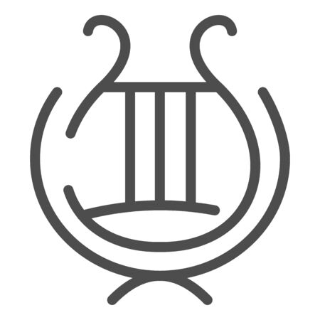 Greek lyre instrument line icon. Ancient lira instrument vector illustration isolated on white. Musical instrument outline style design, designed for web and app. Eps 10.