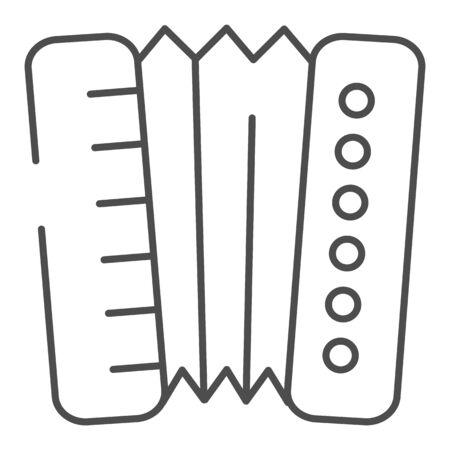 Icône de fine ligne accordéon. Illustration vectorielle d'harmonica isolée sur blanc. Conception de style de contour d'instrument de musique, conçue pour le Web et l'application. Eps 10.