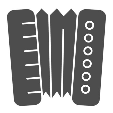 Accordion solid icon. Harmonica vector illustration isolated on white. Musical instrument glyph style design, designed for web and app. Eps 10.