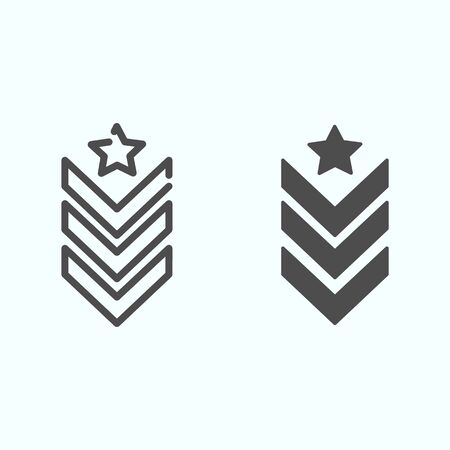 Military epaulet line and glyph icon. Army rank vector illustration isolated on white. Military badge outline style design, designed for web and app. Eps 10