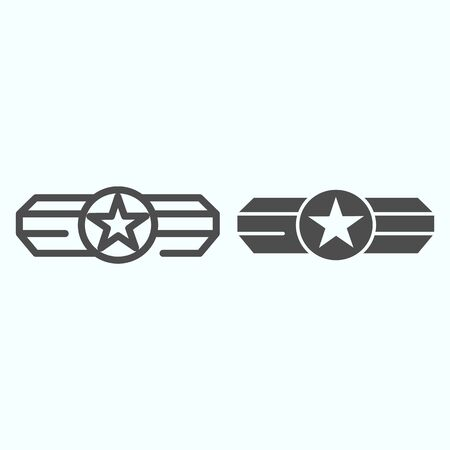 Army epaulet line and glyph icon. Military rank with one star vector illustration isolated on white. Army badge outline style design, designed for web and app. Eps 10