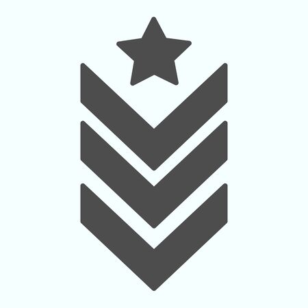 Military epaulet solid icon. Army rank vector illustration isolated on white. Military badge glyph style design, designed for web and app. Eps 10.
