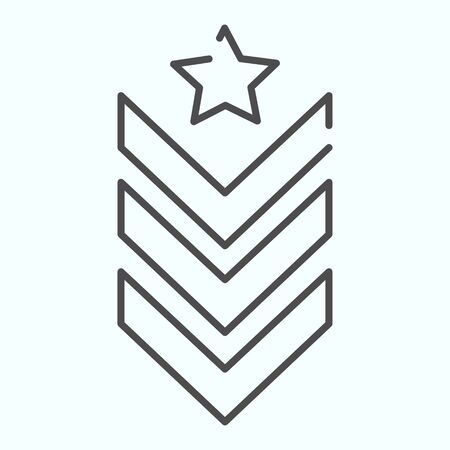 Military epaulet thin line icon. Army rank vector illustration isolated on white. Military badge outline style design, designed for web and app. Eps 10.