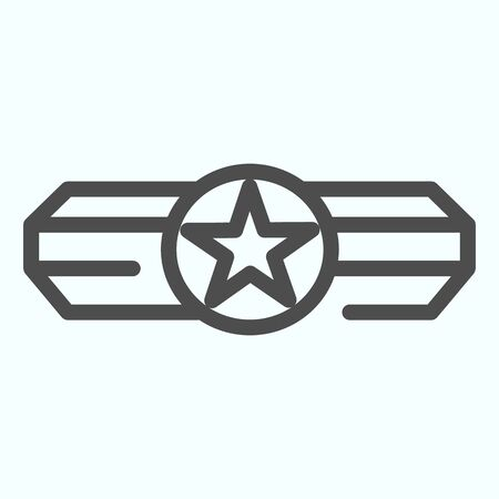 Army epaulet line icon. Military rank with one star vector illustration isolated on white. Army badge outline style design, designed for web and app. Eps 10.