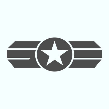 Army epaulet solid icon. Military rank with one star vector illustration isolated on white. Army badge glyph style design, designed for web and app. Eps 10. Ilustração