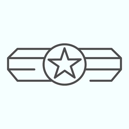 Army epaulet thin line icon. Military rank with one star vector illustration isolated on white. Army badge outline style design, designed for web and app. Eps 10. Ilustração