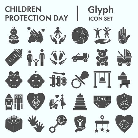 Children protection day glyph icon set, baby stuff symbols collection, vector sketches, logo illustrations, kids care signs solid pictograms package isolated on white background
