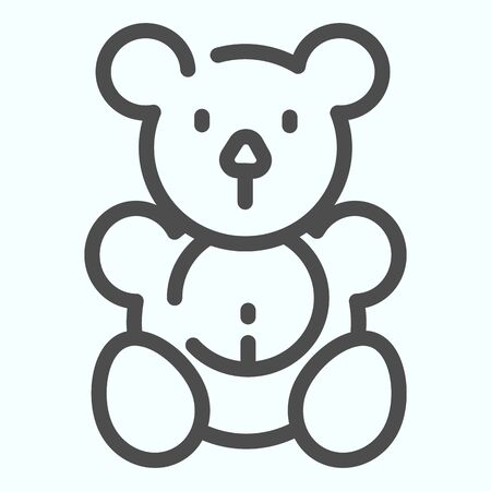 Teddy bear line icon. Plush toy vector illustration isolated on white. Soft bear toy outline style design, designed for web and app. 向量圖像