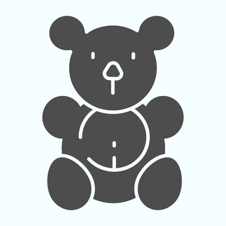 Teddy bear solid icon. Plush toy vector illustration isolated on white. Soft bear toy glyph style design, designed for web and app. 向量圖像