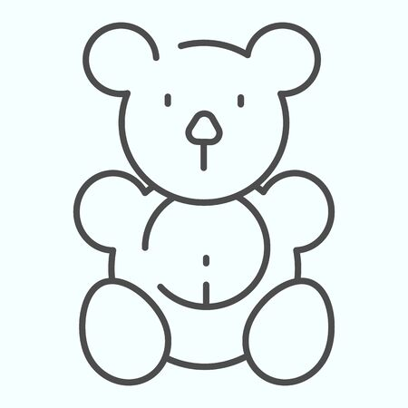 Teddy bear thin line icon. Plush toy vector illustration isolated on white. Soft bear toy outline style design, designed for web and app.