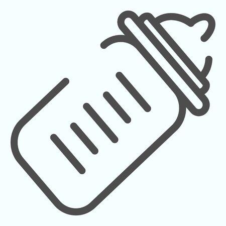 Baby bottle line icon. Milk bottle vector illustration isolated on white. Child feeding bottle outline style design, designed for web and app.