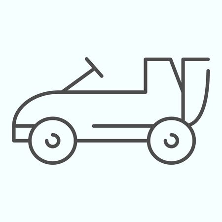 Car toy thin line icon. Kids auto vector illustration isolated on white. Child cabriolet outline style design, designed for web and app.