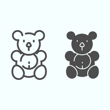 Teddy bear line and glyph icon. Plush toy vector illustration isolated on white. Soft bear toy outline style design, designed for web and app. Illusztráció