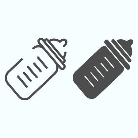 Baby bottle line and glyph icon. Milk bottle vector illustration isolated on white. Child feeding bottle outline style design, designed for web and app. Ilustrace