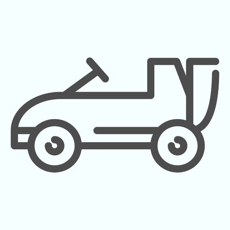 Car toy line icon. Kids auto vector illustration isolated on white. Child cabriolet outline style design, designed for web and app.