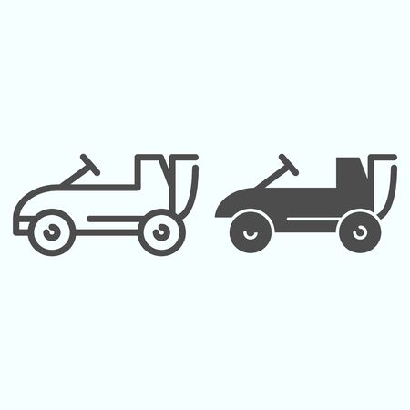 Car toy line and glyph icon. Kids auto vector illustration isolated on white. Child cabriolet outline style design, designed for web and app. Ilustracja