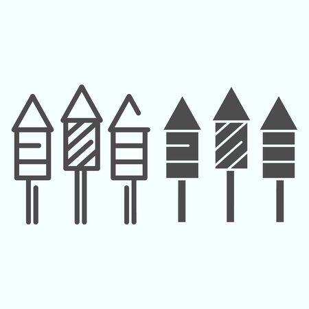 Firecrackers line and glyph icon. Striped fireworks vector illustration isolated on white. Party rocket outline style design, designed for web and app.