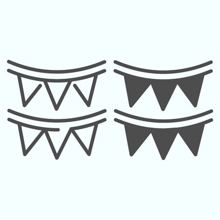 Paper garland and glyph line icon. Party garland vector illustration isolated on white. Festive decoration outline style design, designed for web and app.