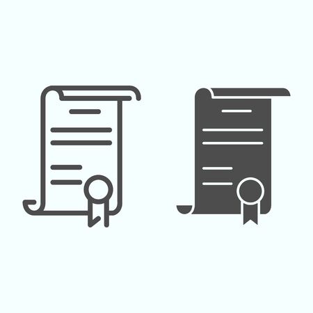 Declaration line and glyph icon. American document vector illustration isolated on white. Contract outline style design, designed for web and app.