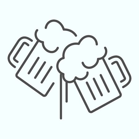 Beer mugs thin line icon. Beer glasses clink vector illustration isolated on white. Toasting mugs outline style design, designed for web and app.