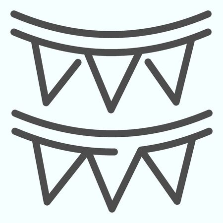 Paper garland line icon. Party garland vector illustration isolated on white. Festive decoration outline style design, designed for web and app.