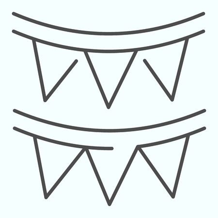 Paper garland thin line icon. Party garland vector illustration isolated on white. Festive decoration outline style design, designed for web and app. 向量圖像