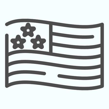 USA flag line icon. American flag vector illustration isolated on white. United states symbol outline style design, designed for web and app. Vektoros illusztráció