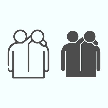 Friendship line and solid icon. Friendship embrace vector illustration isolated on white. Friends hugs each other outline style design, designed for web and app.