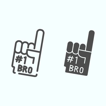 Number one glove line and solid icon. Foam finger number 1 vector illustration isolated on white. Fan hand outline style design, designed for web and app.