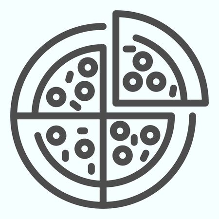Pizza line icon. Pizza is cut into four slices vector illustration isolated on white. Fast food outline style design, designed for web and app.
