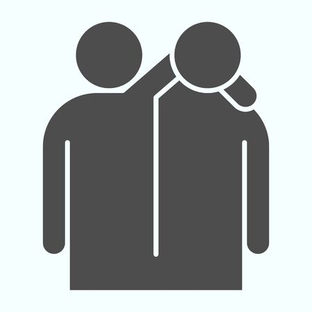 Friendship solid icon. Friendship embrace vector illustration isolated on white. Friends hugs each other glyph style design, designed for web and app.