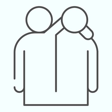 Friendship thin line icon. Friendship embrace vector illustration isolated on white. Friends hugs each other outline style design, designed for web and app. 일러스트