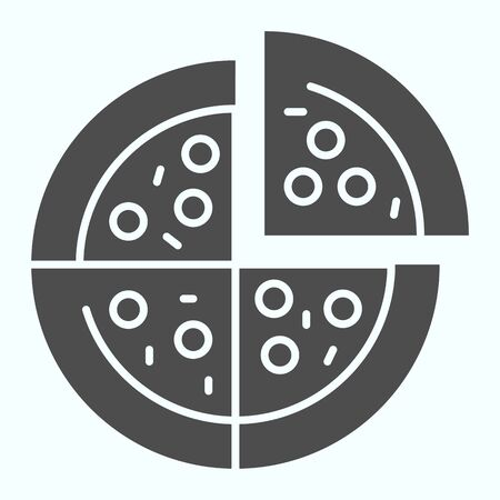 Pizza solid icon. Pizza is cut into four slices vector illustration isolated on white. Fast food glyph style design, designed for web and app. Illustration