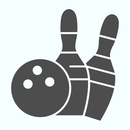 Bowling solid icon. Bowling activity vector illustration isolated on white. Skittles and ball for bowling glyph style design, designed for web and app.