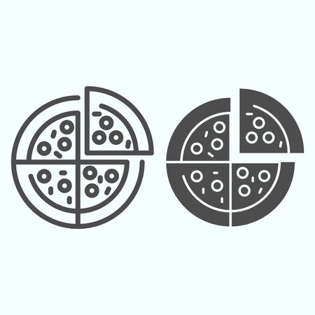 Pizza line and solid icon. Pizza is cut into four slices vector illustration isolated on white. Fast food outline style design, designed for web and app. Illustration