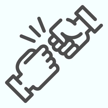 Fist bump line icon. Friends greeting vector illustration isolated on white. Friendship sign outline style design, designed for web and app.