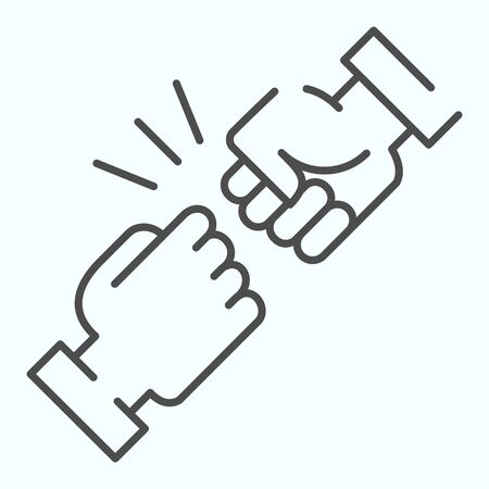 Fist bump thin line icon. Friends greeting vector illustration isolated on white. Friendship sign outline style design, designed for web and app.