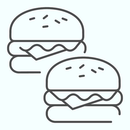 Burgers thin line icon. Two tasty sandwiches vector illustration isolated on white. Fast food outline style design, designed for web and app.
