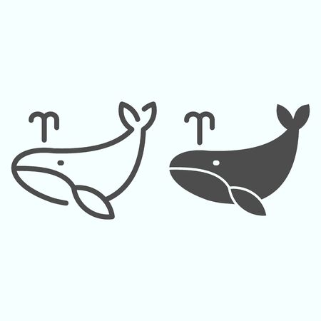 Whale line and solid icon. Marine blower fish illustration isolated on white. Whale with water fountain blow outline style design, designed for web and app.