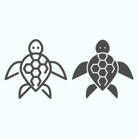 Turtle line and solid icon. Ocean or sea kareta tortoise illustration isolated on white. Marine turtle-shell animal outline style design, designed for web and app. Vetores