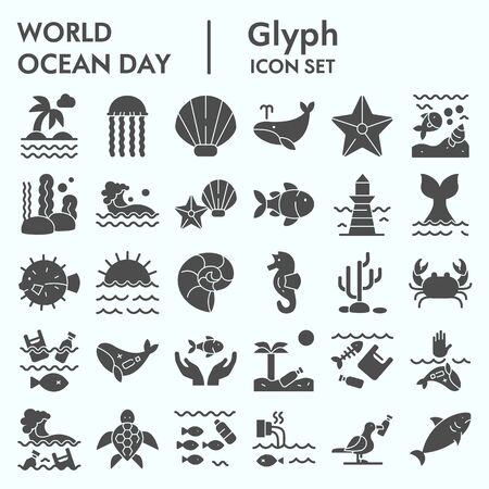 World ocean day glyph icon set, water world collection, vector sketches, logo illustrations, computer web signs solid pictograms package isolated on white background Ilustração