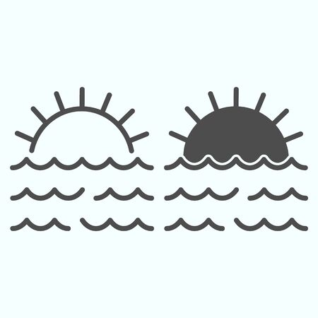 Sunset line and solid icon. Sunset and sea waves illustration isolated on white. Marine Sunset outline style design, designed for web and app.